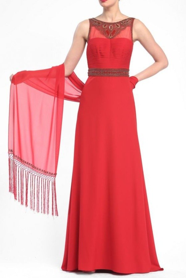 Sue Wong Red Gold Beaded Pleated Crepe Gown Dress