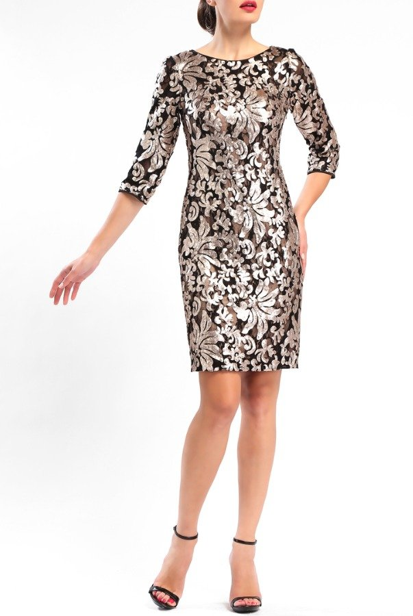 Sue Wong N5555 Black Gold Cocktail Sequined Lace Sheath Dress
