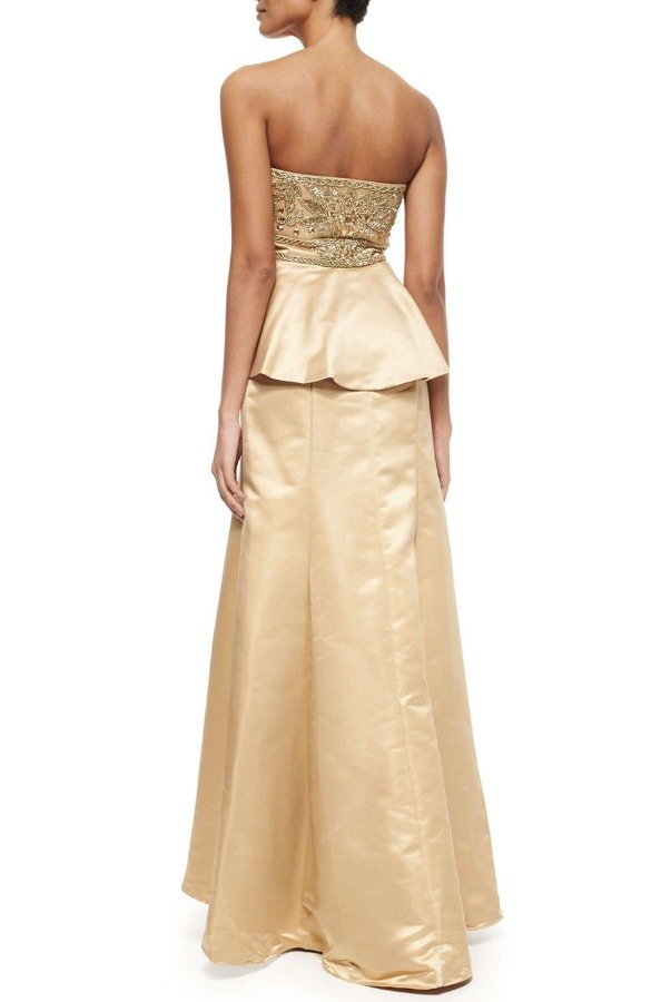 Sue Wong W5206 Champagne Gold Evening Peplum Gown Dress