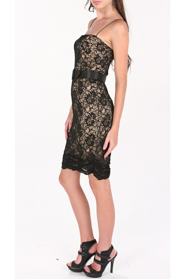 Aidan Mattox Short Belted Lace Dress