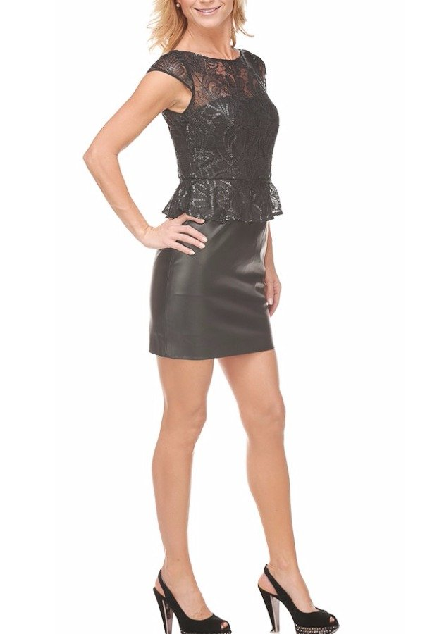 Aidan Mattox Black Lace Leather Bottom Dress