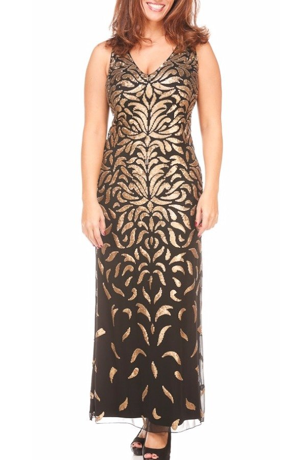 Aidan Mattox Black Gold Swirl Dress Gown