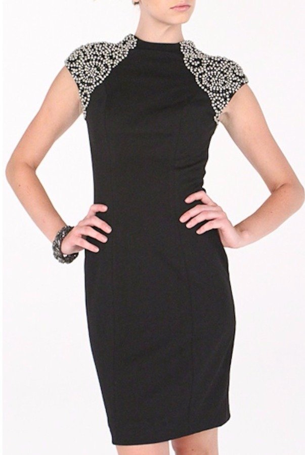 Aidan Mattox Beaded Shoulder Dress
