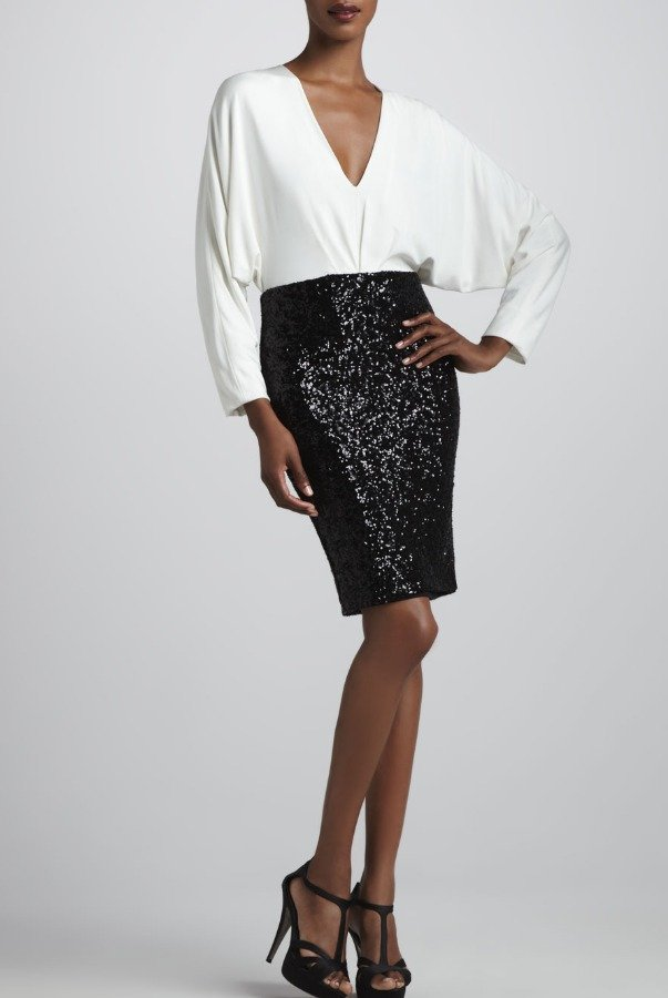 Badgley Mischka Twofer Long Sleeve Dress