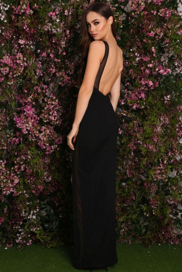 Abyss by Abby Alamour Open Back Black Slit Illusion Gown Dress