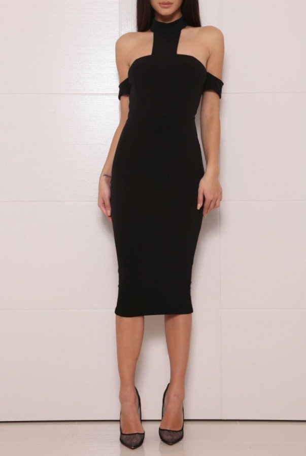 Abyss Coba Off The Shoulder Power Dress Black Midi