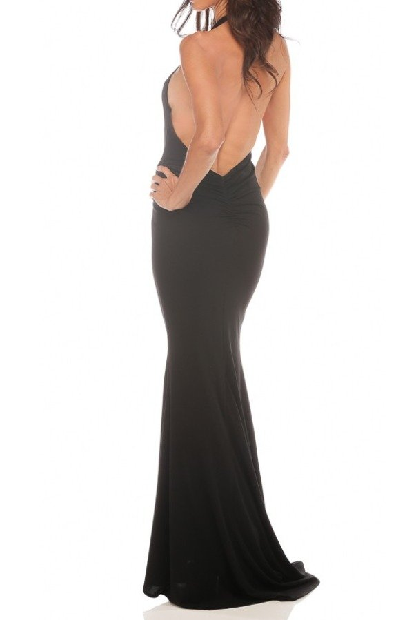 Abyss Coco Halter Open Low Back Dress in Black