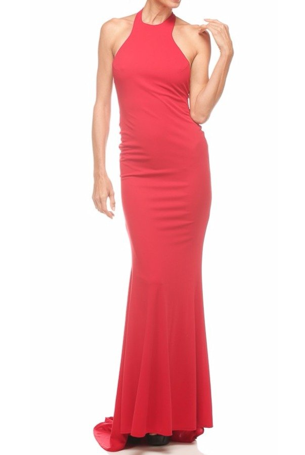 Abyss by Abby Coco Halter Red Dress Low Open Back