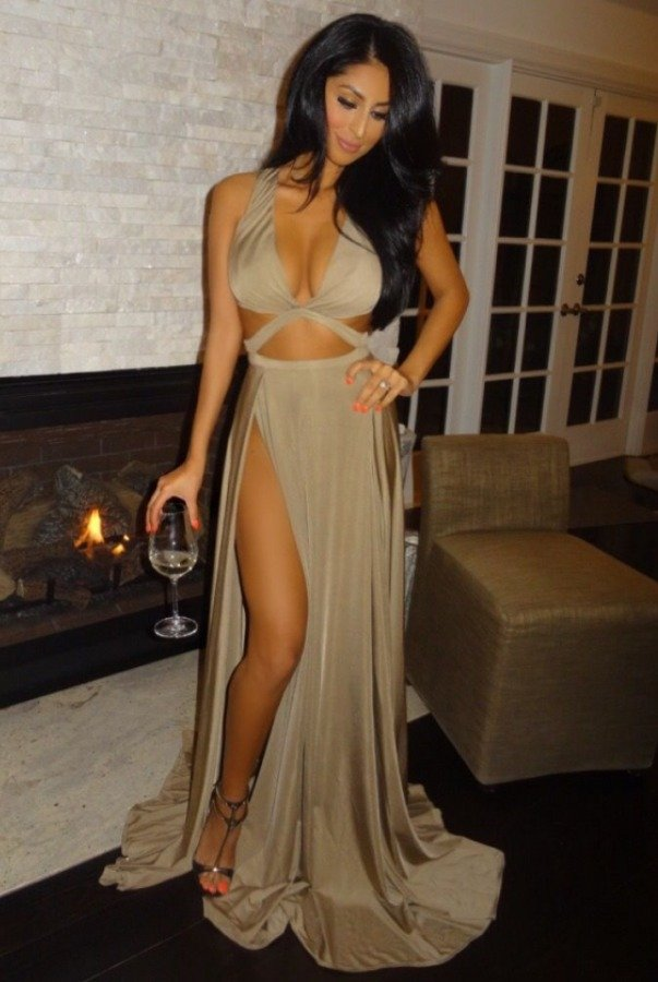 Abyss by Abby Craving Cutout Gown Tan Bronze High Slit