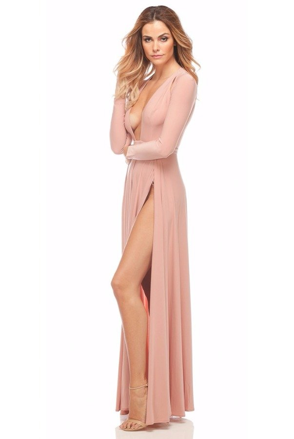 Abyss by Abby Envy Cold Shoulder Cutout Dress Gown in Blush