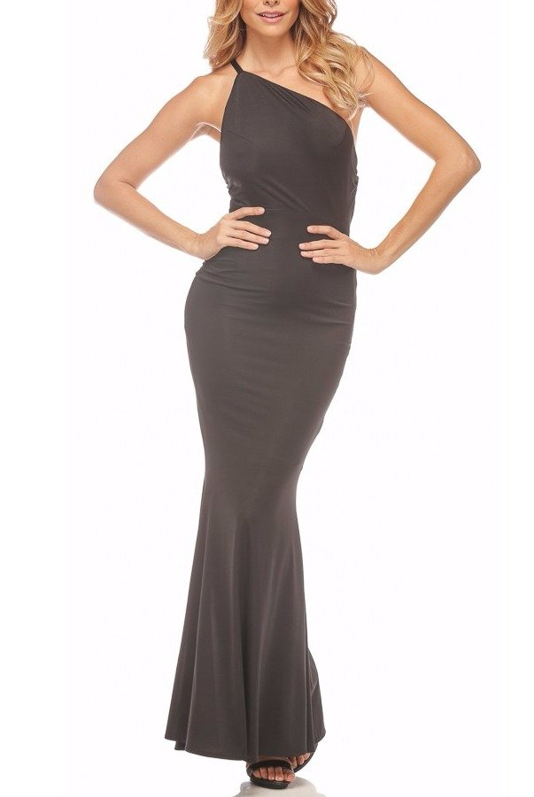 Abyss Jadore Open Back Gown Evening Dress in Black