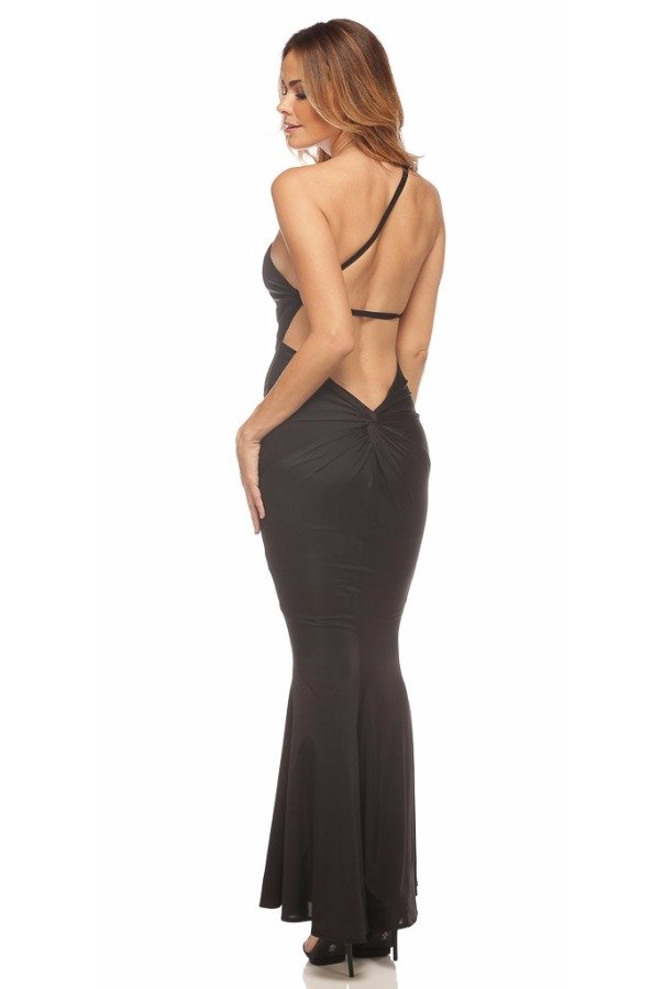 Abyss by Abby Jadore Open Back Gown Evening Dress in Black