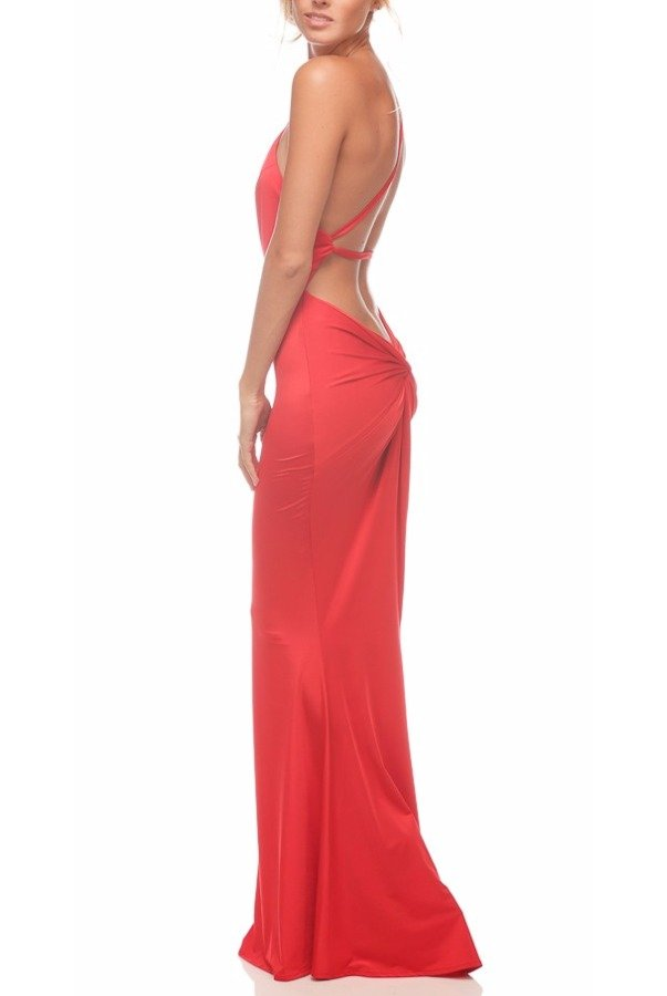 Abyss by Abby Jadore Open Back Gown in Red