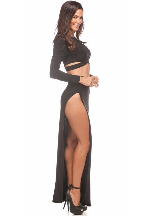 Abyss by Abby Mariah Black Cutout Two Piece Dress Prom Gown