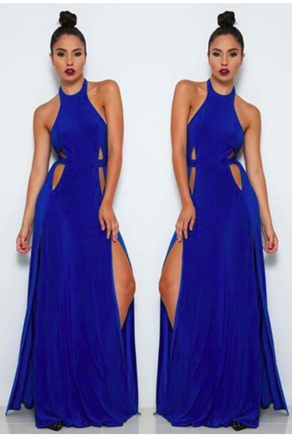 Abyss by Abby Mario Cutout Gown High Slit Open Back Royal Blue