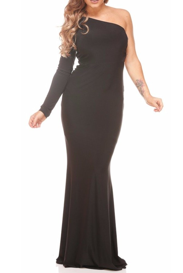 Abyss Posha Black One Shoulder Long Sleeve Gown Dress