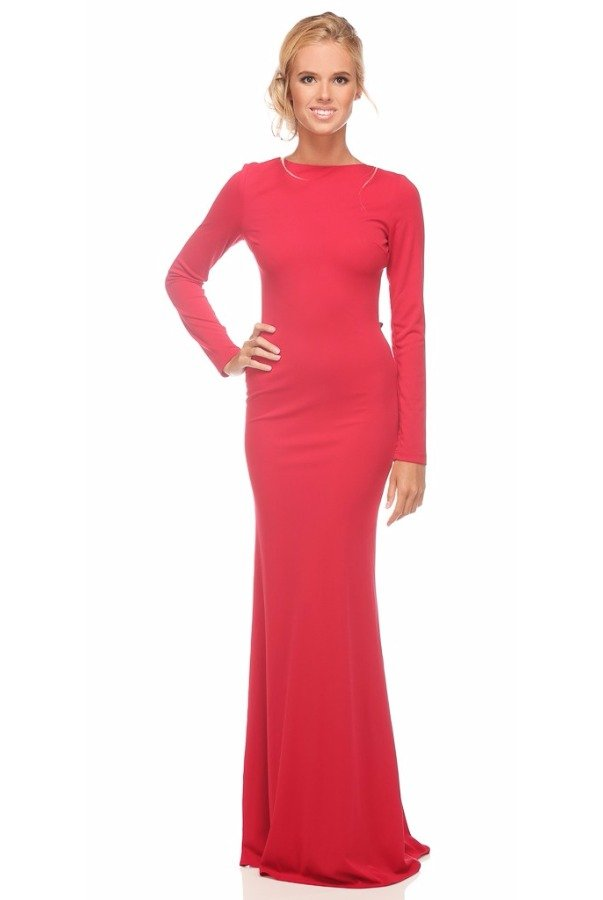 Abyss by Abby Saba Bodycon Gown Open Back in Red