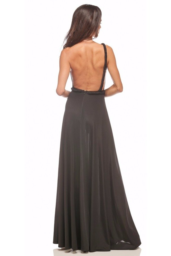 Abyss Vamp Black One Shoulder Open Back Evening Gown