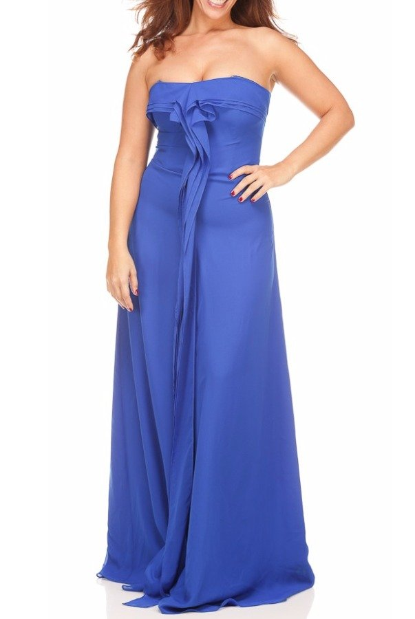 Badgley Mischka Cascading Ruffle Blue Dress Gown Formal