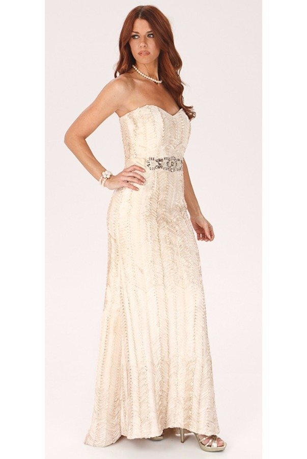 Badgley Mischka Fairy Silk Beautiful Belted Gown in Almond Color
