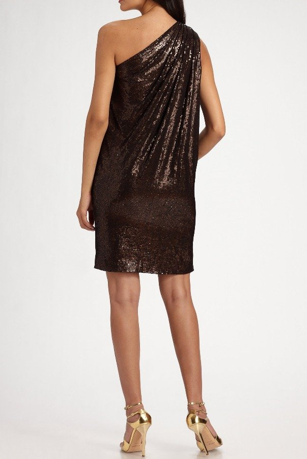 Badgley Mischka One Shoulder Sequined Bronze Brown Dress