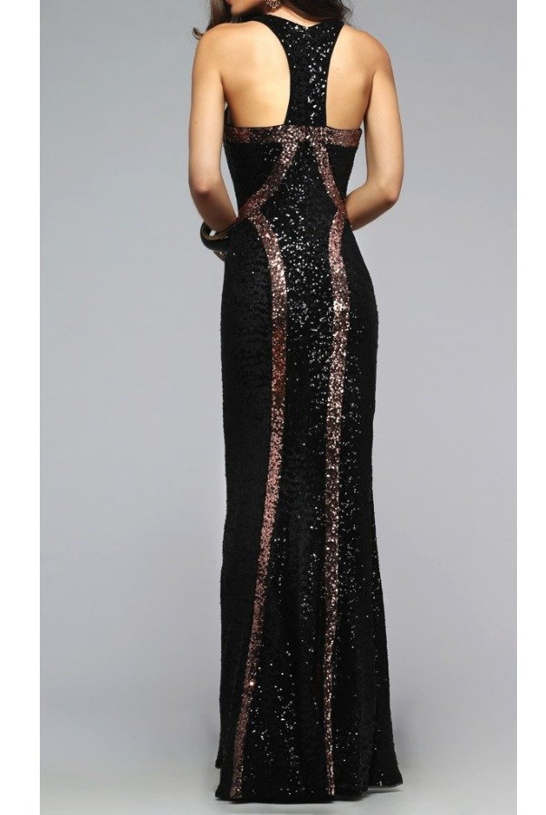 Faviana Copper Sequin Scoop Dress 7708