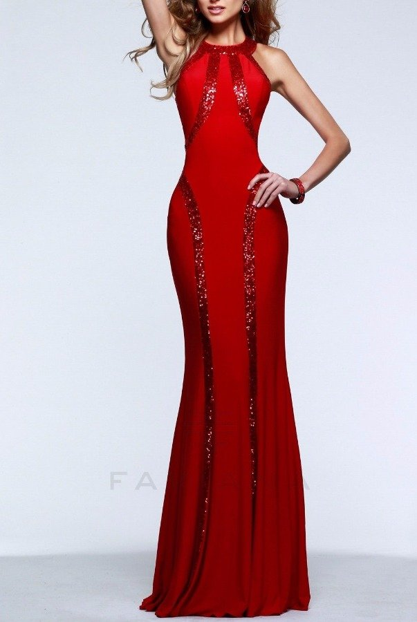 Faviana Blazing Ruby Red Sequin Trim Gown Dress 7510