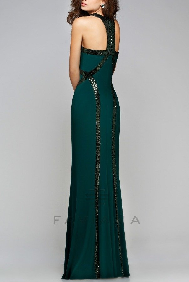 Faviana Blazing Emerald Green Sequin Trim Gown Dress 7708 | Poshare