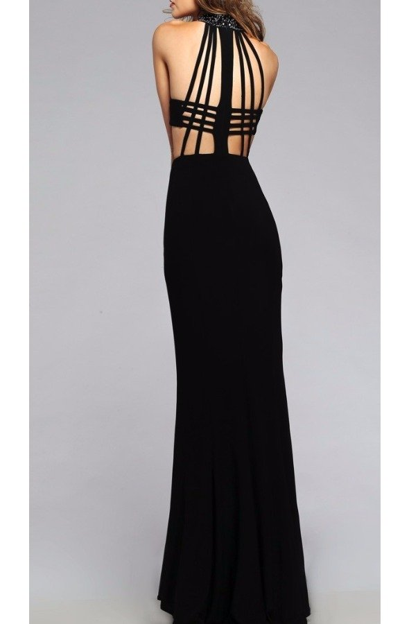 Faviana Faviana 7728 Cut Out Open Back Jersey Dress Gown