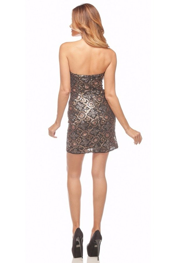 Faviana Pendant Sequin Cocktail Dress Black Gold 7658