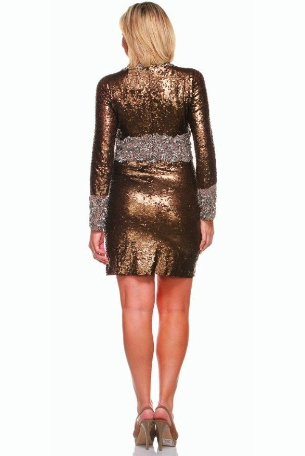 Farah Khan Rowena Gold Sequin Dress