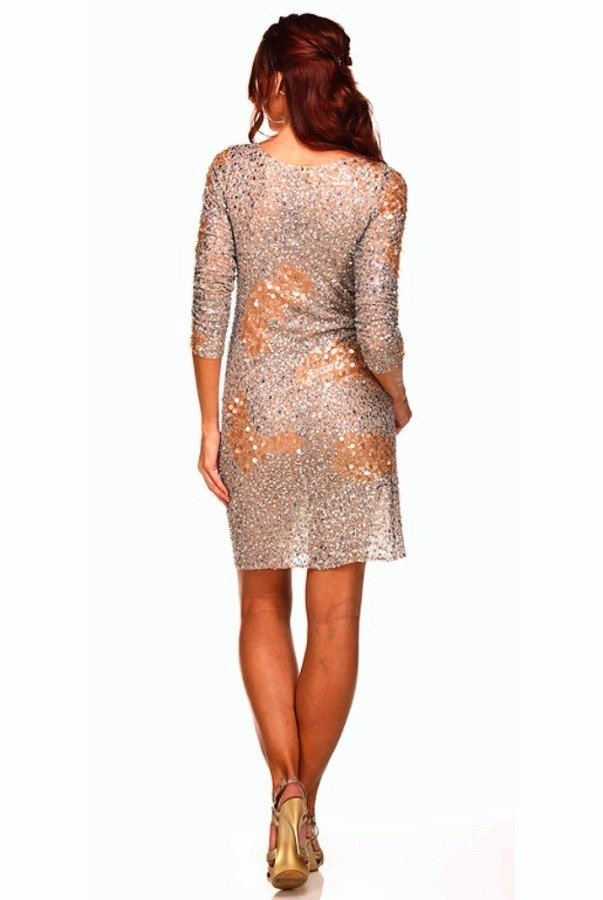 Farah Khan Silver Nude Gaga Dress