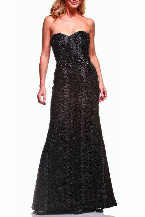 Badgley Mischka Strapless Silk Ribbon Gown Black Dress