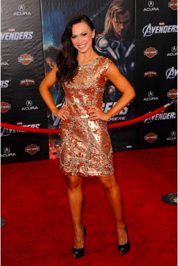 Farah Khan Virginia Sequin Short Bronze Gold Dress
