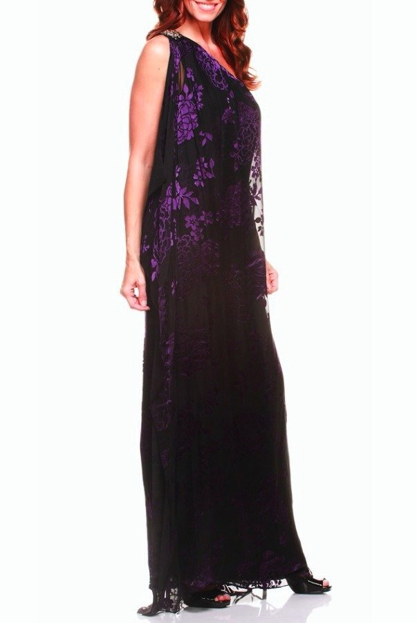 Badgley Mischka One Shoulder Flower Dress