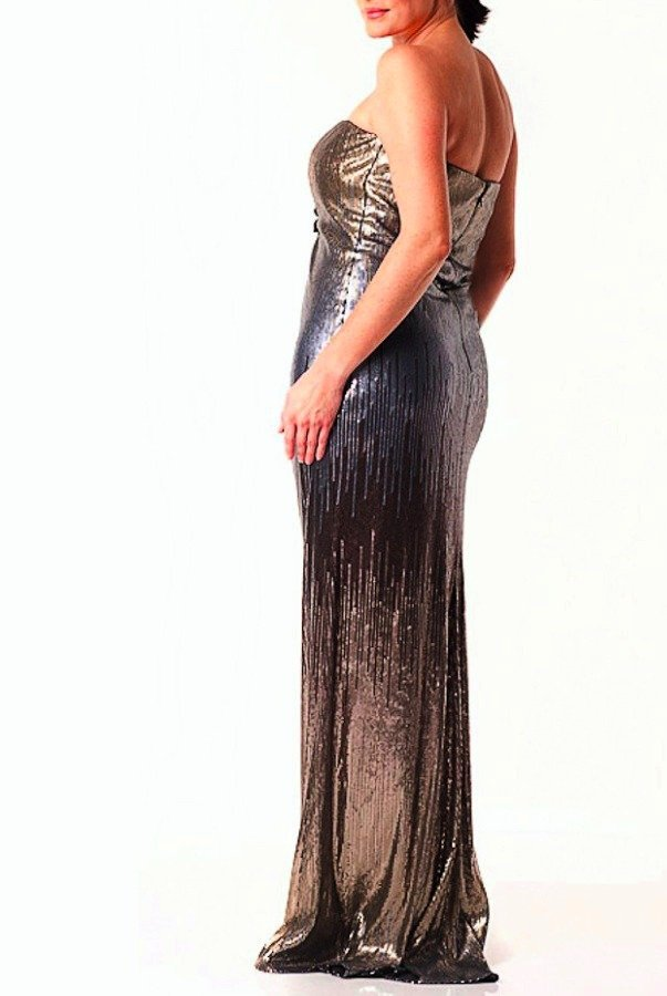 Badgley Mischka Strapless Ombre Silver Gold Sequin Gown