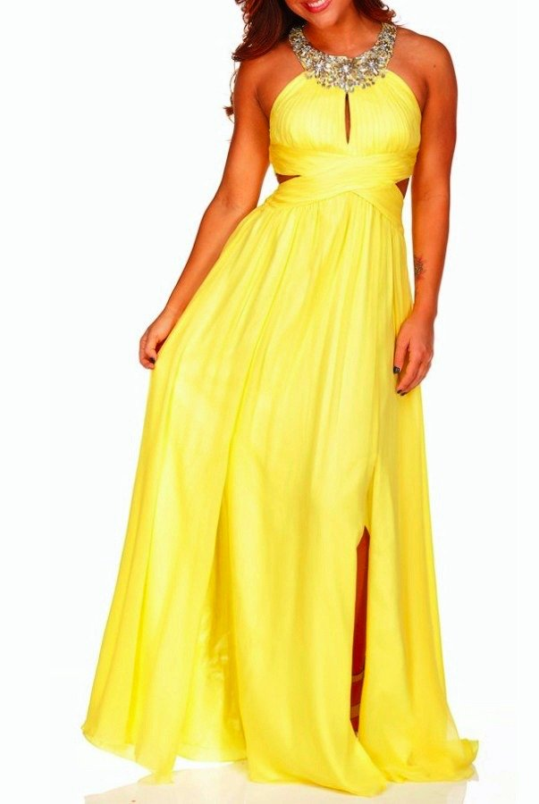 Aidan Mattox Jeweled Neckline Yellow Lemon Gown Dress