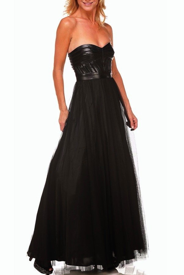 Aidan Mattox Black Leather Strapless A Line Puffy Dress Gown