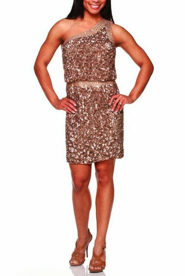 Aidan Mattox Sequined One Shoulder Band Dress