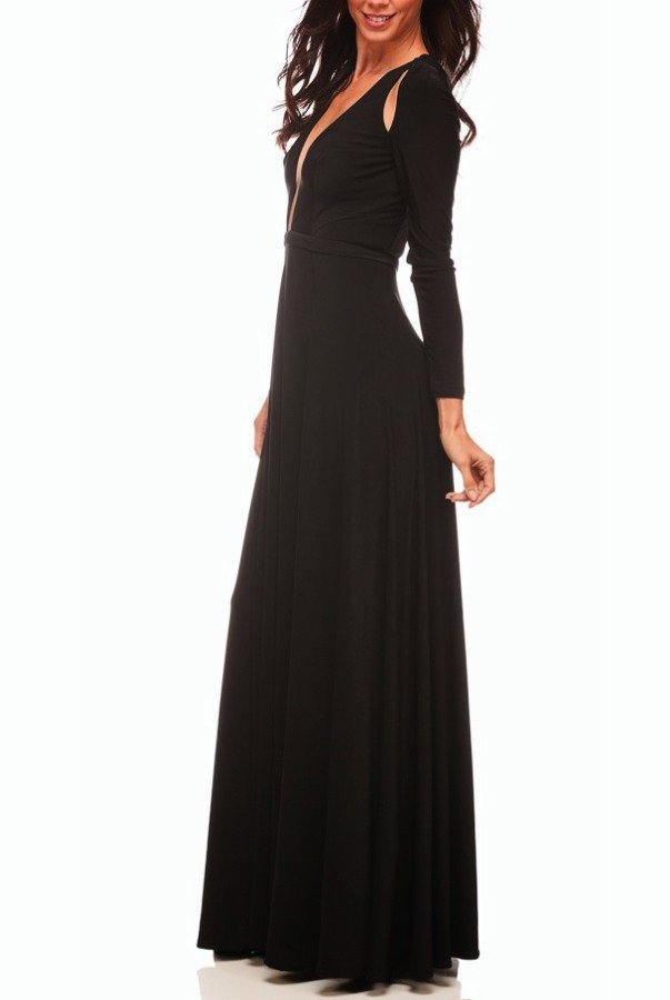 Abyss Envy Cold Shoulder Long Cutout Dress Gown in Black