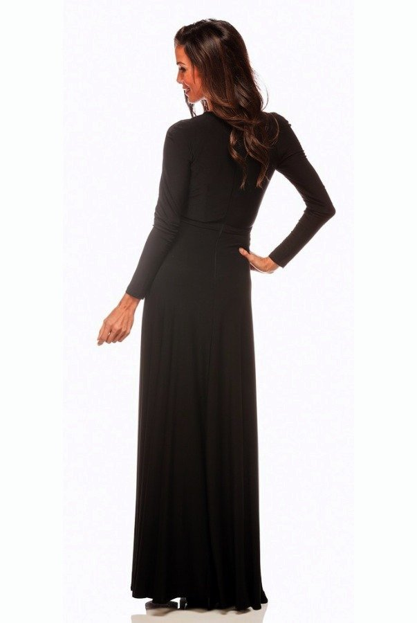 Abyss by Abby Envy Cold Shoulder Long Cutout Dress Gown in Black