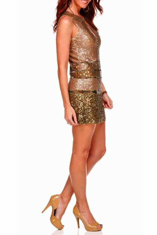 Farah Khan Tamira Dress Gold Sequin Cocktail Dress