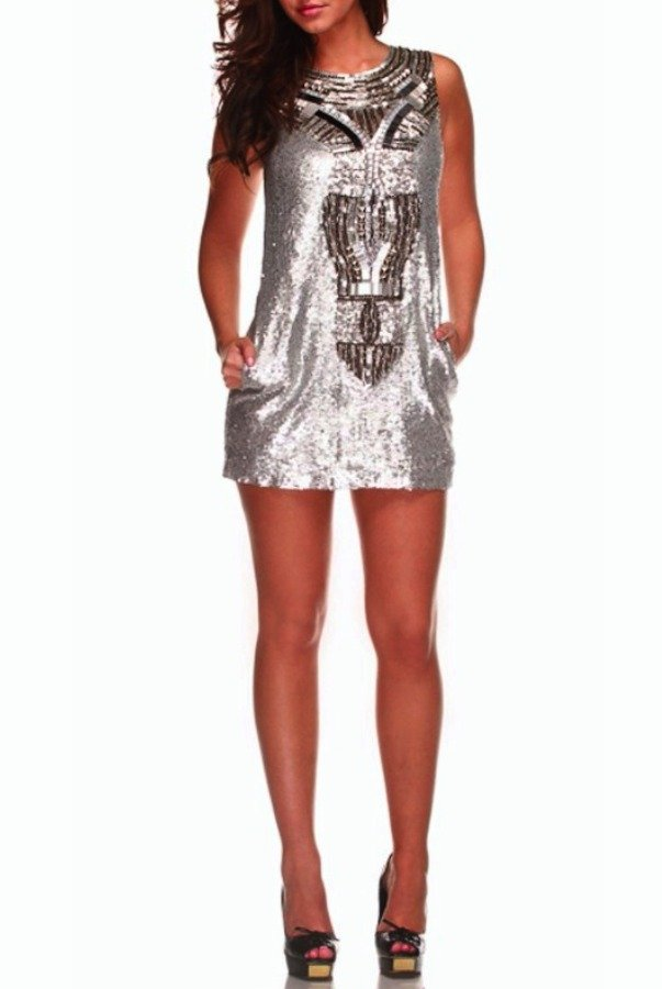 Farah Khan Silver Sequin Brittany Dress