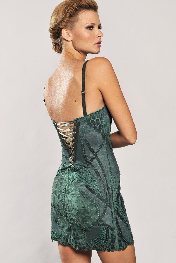 Ema Savahl Fusion Intricate Handpainted Emerald Green Dress