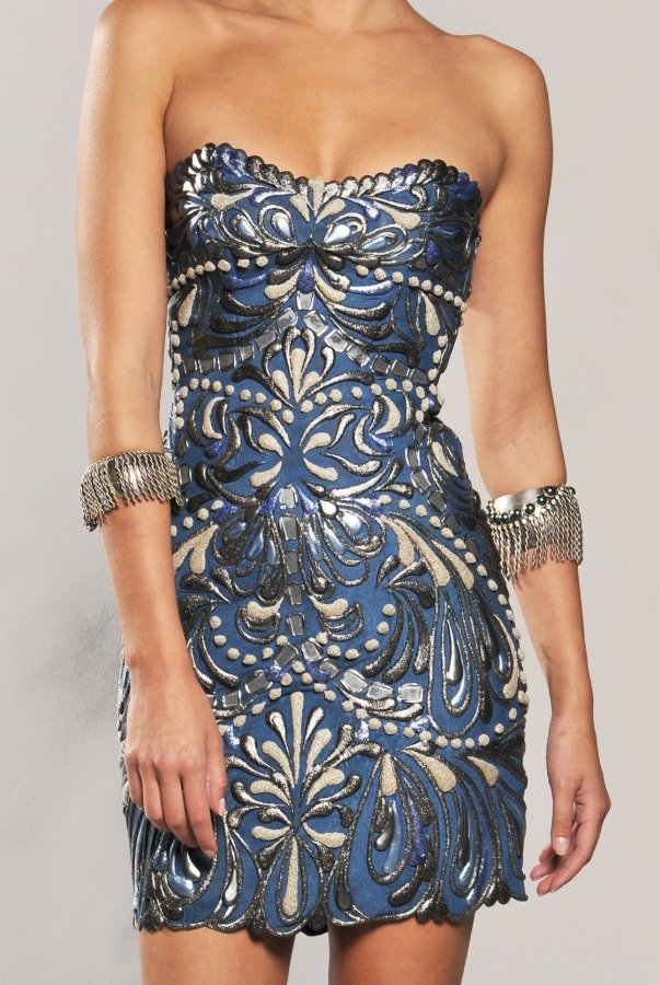 Ema Savahl Fluter Strapless Gladiator Dress in Ocean Blue