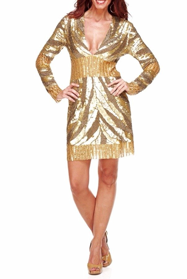 Farah Khan Gold Sequin Blake Cocktail Party Dress