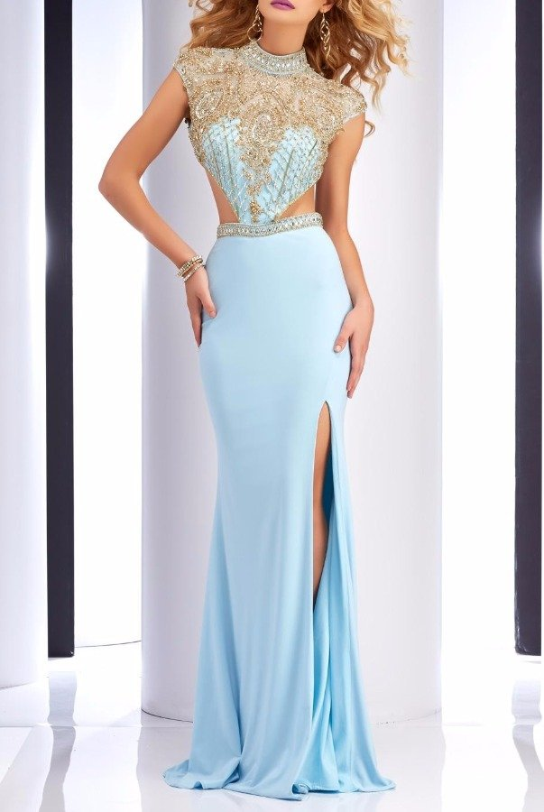 Clarisse Ice Blue Cutout Gown 2725