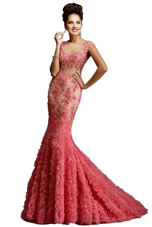 Janique Flower Applique Blush Pink Evening Gown Dress 1514 | Poshare