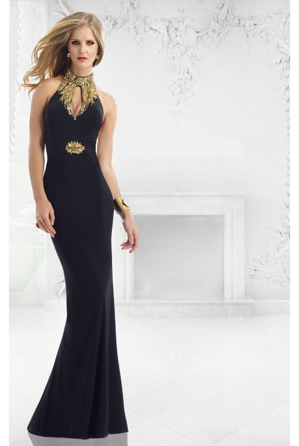 Janique Beaded Halter Neck Evening Gown Black w992