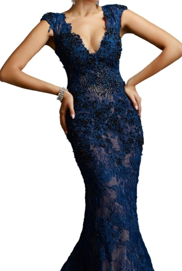 Janique Navy Blue Beaded Lace V Gown W977